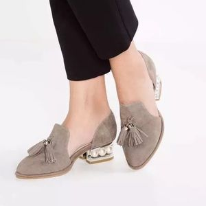 Jeffrey Campbell civil suede loafer pearl 9.5 10